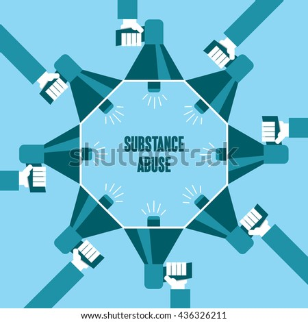 Business people with a megaphone yelling, Substance Abuse - illustration - stock vector