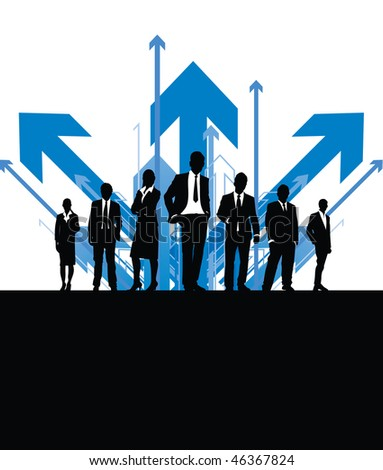 business people with arrow background - stock vector