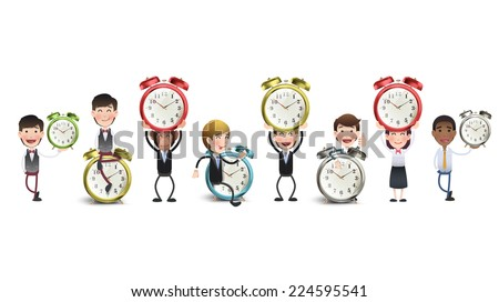 Business people with clocks over white background