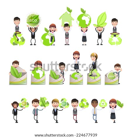 Business people with ecology icons - stock vector