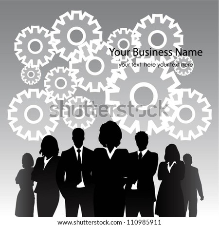 Business people with gears. Vector - stock vector