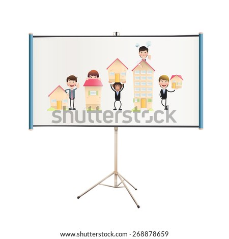 Business people with houses in projector screen - stock vector