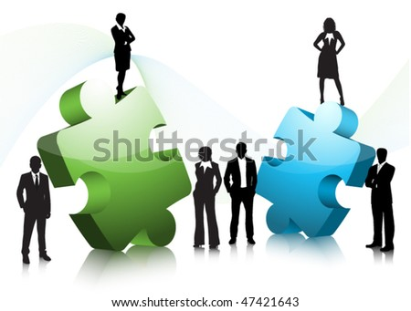 Business people with puzzle