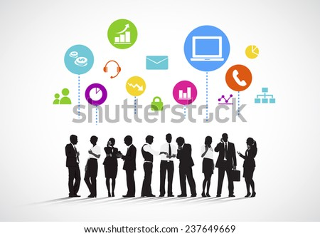 Business People with Social Media Concept - stock vector