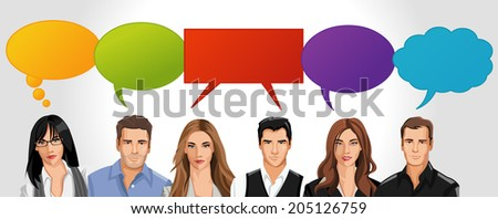 Business people with speech balloon icons  - stock vector