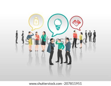Business people with speech bubbles and icons on grey background - stock vector