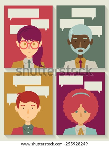 Business people with talk bubbles - stock vector