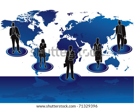 Business people with teamwork at work - stock vector