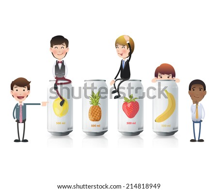 business people with tin fruits. Vector design  - stock vector