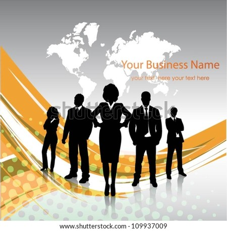 Business people with world map background - stock vector