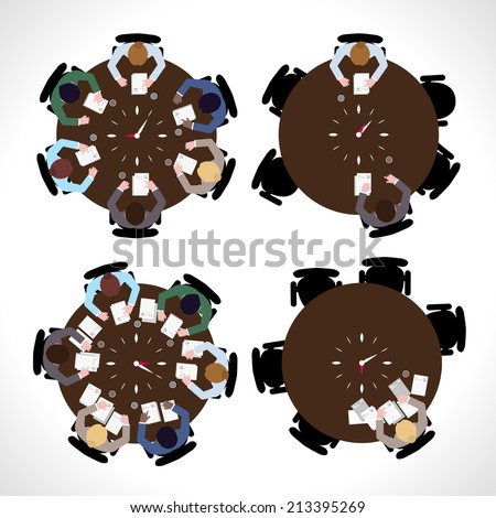 Business people workday on table top view isolated vector illustration - stock vector