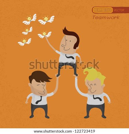 Business people working as a team to grab the Idea , eps10 vector format - stock vector