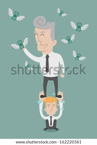 Business people working as a team to grab the money , eps10 vector format - stock vector