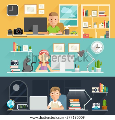 Business People Working on an Office Desk. Vector illustration. - stock vector