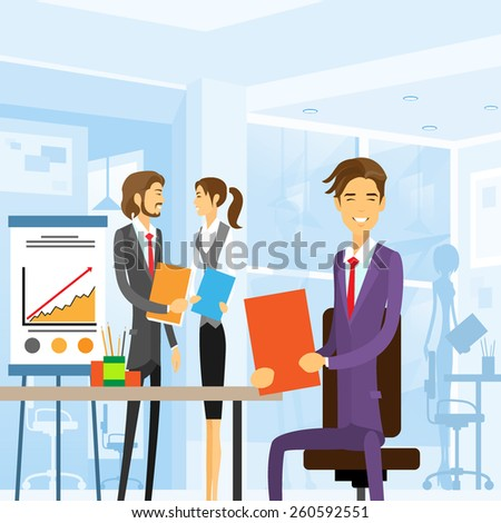 business people working sitting at office workplace vector illustration - stock vector