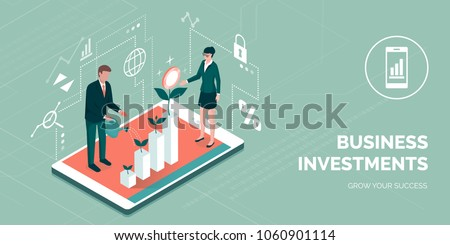 Business people working together and growing a successful financial chart with sprouting plants on a digital tablet: investments and finance concept