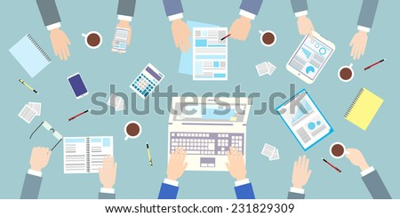 Business people workplace top angle above view sitting at office desk work vector illustration flat design - stock vector