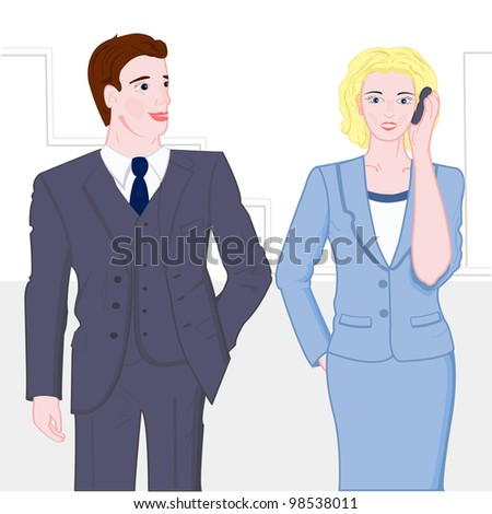 Business people, young man and woman - stock vector