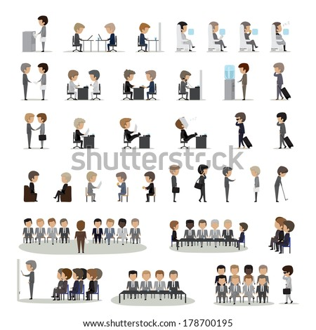 Business Peoples In Different Actions And Situations Set - Isolated On Gray Background - Vector Illustration, Graphic Design Editable For Your Design. Team Working In Group - stock vector
