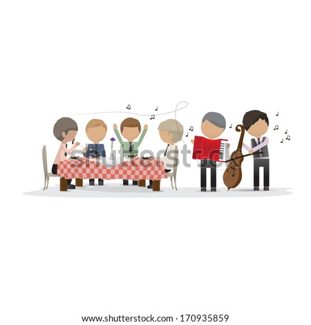 Business Peoples In The Restaurant With Musicians - Isolated On White Background - Vector Illustration, Graphic Design Editable For Your Design - stock vector