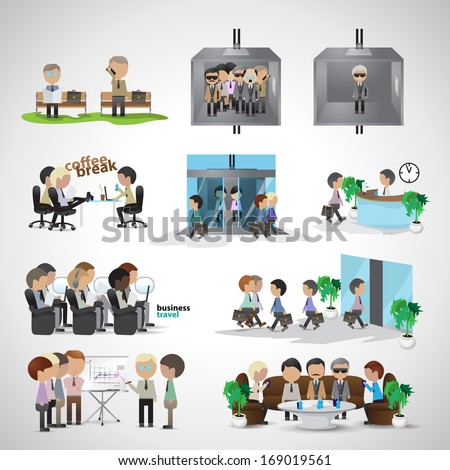 Business Peoples - Isolated On Gray Background - Vector Illustration, Graphic Design Editable For Your Design. Team Working In Office. Business Concept  - stock vector