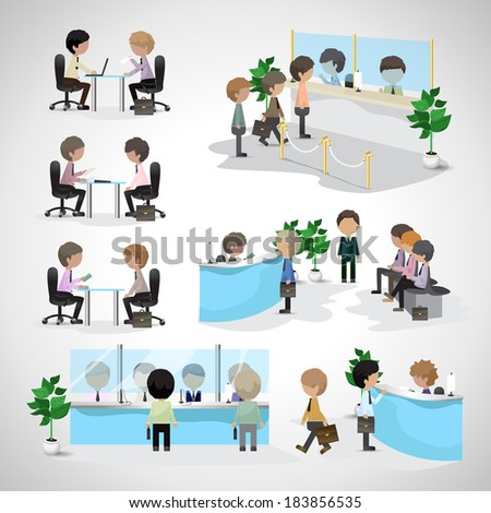 Business Peoples - Isolated On Gray Background - Vector Illustration, Graphic Design Editable For Your Design. People In A Bank. People Waiting In Line. People In Office. Business Concept - stock vector