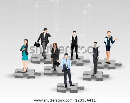 Business peoples standing on puzzles, corporate background. - stock vector
