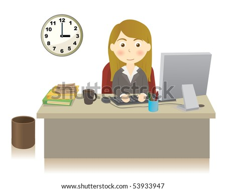 Business person at office - stock vector