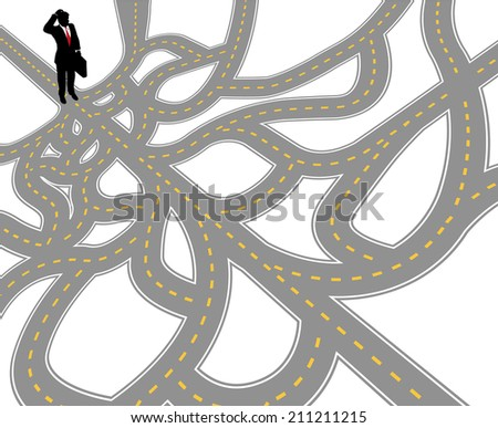 Business person questions complicated choices and confusing decisions to go forward - stock vector