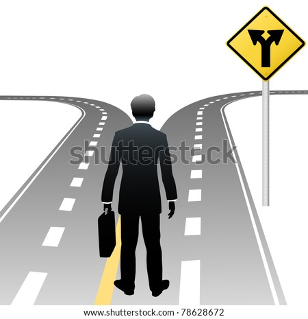 Business person standing at road sign choice makes decision on future course - stock vector