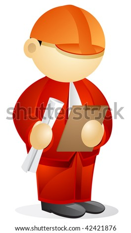 Business person wearing a hard hat, holding blueprint and clipboard on his hands. - stock vector