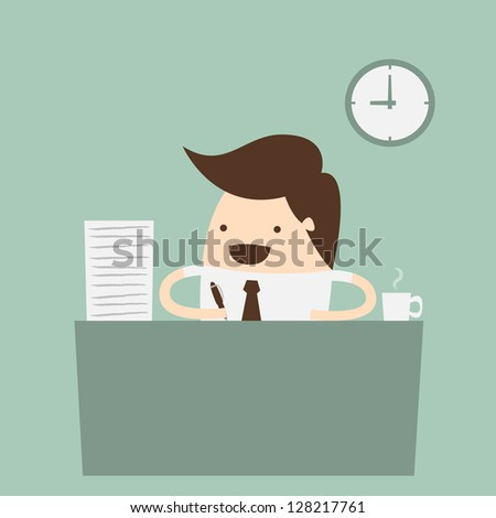 business person working in office hour - stock vector