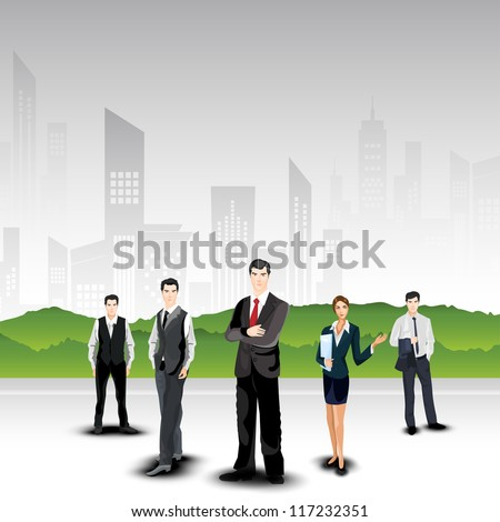 Business persons on abstract urban city background. EPS 10. - stock vector
