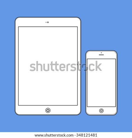Business Phone and Tablet with blank white screens on blue background.  Illustration Similar To iPhone iPad.