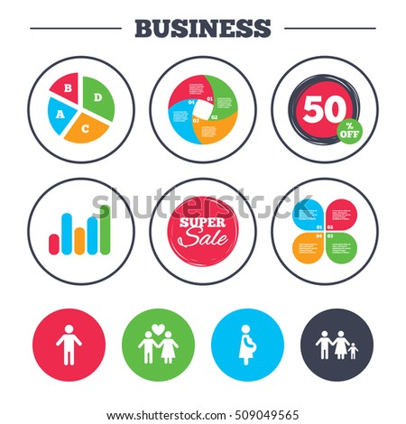 Business pie chart. Growth graph. Family lifetime icons. Couple love, pregnancy and birth of a child symbols. Human male person sign. Super sale and discount buttons. Vector