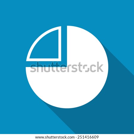 Business pie chart icon Info graphics. Modern design flat style icon with long shadow effect - stock vector