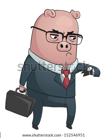 Business Pig. Vector illustration of a business pig wearing a suit, holding a suitcase and looking at its watch. - stock vector