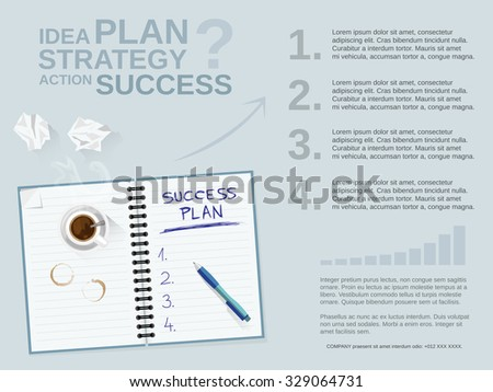 Business plan concept for web banner and printed materials. Motivation tips to success. Editable vector template. - stock vector