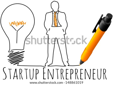 Business plan drawing of entrepreneur startup idea light bulb - stock vector