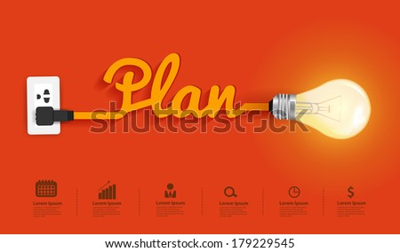 Business plan modern design template, Creative light bulb idea abstract infographic  layout, diagram, step up options, Vector illustration - stock vector