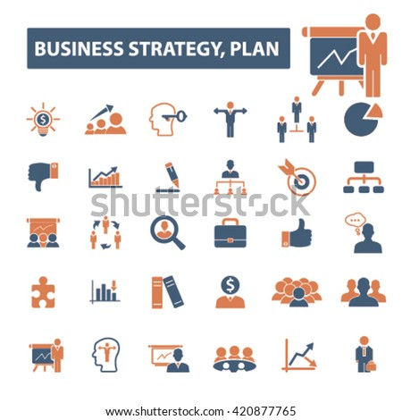business plan strategy icons - stock vector