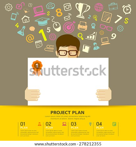 Business plan white paper in hands man with colorful business icons background, vector illustration - stock vector