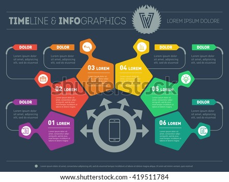 Business plan six steps infographic design stock vector - Business plan for web design company ...