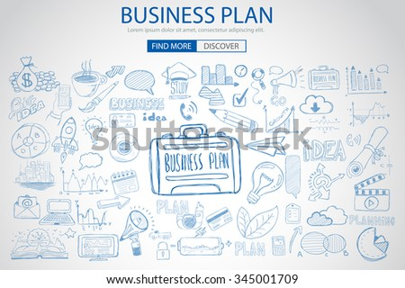 Business Planning  concept with Doodle design style: online solution, social media campain, creative ideas,Modern style illustration for web banners, brochure and flyers. - stock vector