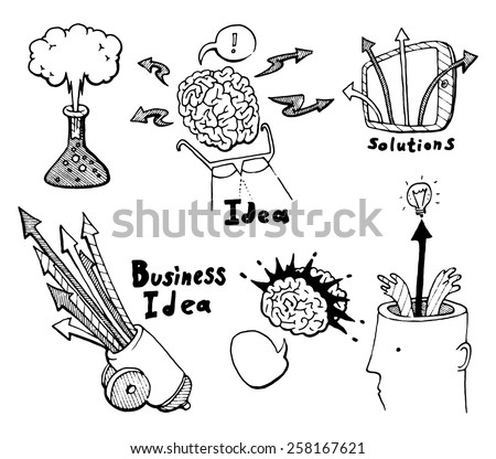 Business planning doodles icons set. Innovate business concept, brainstorming, start up development, new solutions. Hand drawn vector illustration. - stock vector