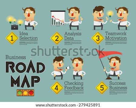 Business planning road map infographic. Cartoon character. Vector Illustration. - stock vector