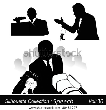 Business/political speaker silhouettes - stock vector