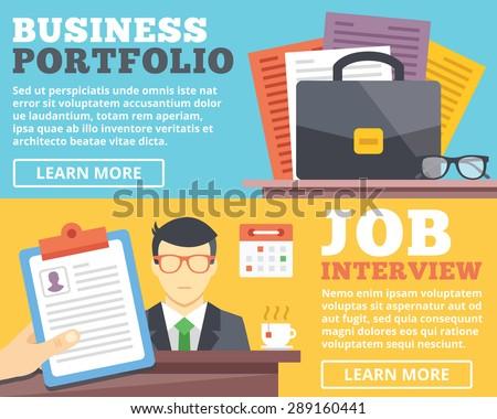 Business portfolio, job interview flat illustration concepts set. Flat design concepts for web banners, web sites, printed materials, infographics. Creative vector illustration - stock vector