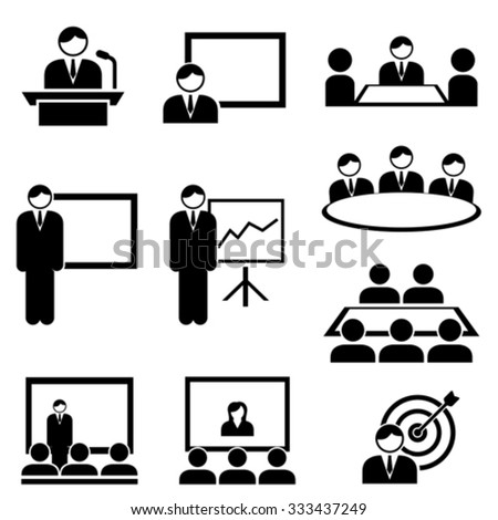 Business presentation and meeting icon set