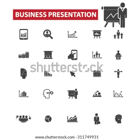 business presentation black isolated concept icons, illustrations set. Flat design vector for web, infographics, apps, mobile phone servces  - stock vector